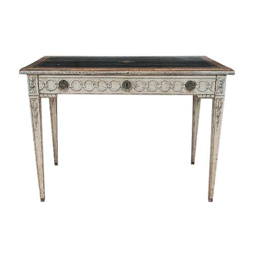 19th Century Neoclassical Trompe l'Oeil Decor Desk and Black Leather Top For Sale