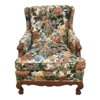 1960s French Hickory Tavern Floral Tufted Bergere/Library Chair For Sale