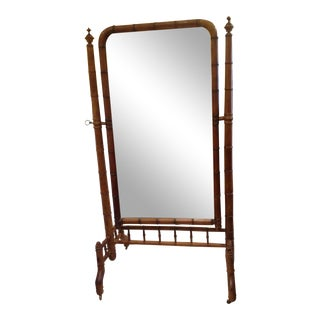 19th Century Faux Bamboo Cheval Mirror For Sale