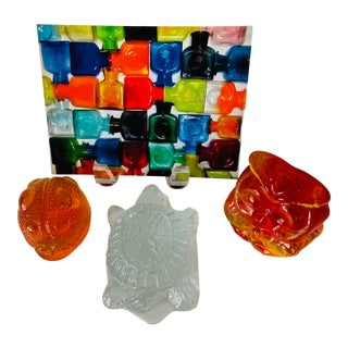 Blenko Hand Blown Glass Critter Paperweights, Owl Turtle Frog - Set of 3 For Sale