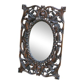 Antique French Carved Oak Acanthus Cartouche Framed Oval Mirror For Sale