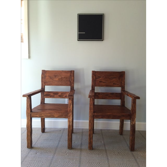 African Style Carved Wooden Chairs - A Pair - Image 2 of 11