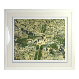 Vintage Doug Webb Lithograph of Playing Cards Leaning on Arc De Triomphe For Sale