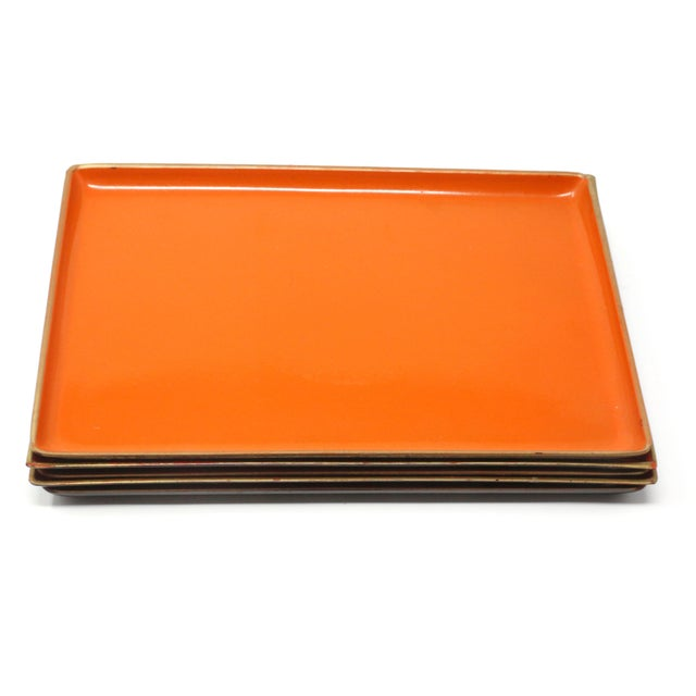 Orange Vintage Orange Lacquered Trays - Set of 5 For Sale - Image 8 of 11