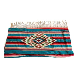 1940s Striped Serape With Laced Edging