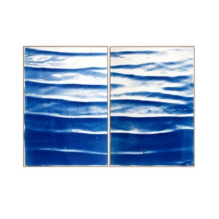 """Diptych """" Zen Pond Ripples """", Handprinted Cyanotype on Watercolor Paper, Limited Edition (Only 20), 100 X 140 CM For Sale"""