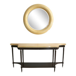 Art Deco Revival Goatskin Lacquered Console & Mirror by Lucien Rollin for William Switzer For Sale