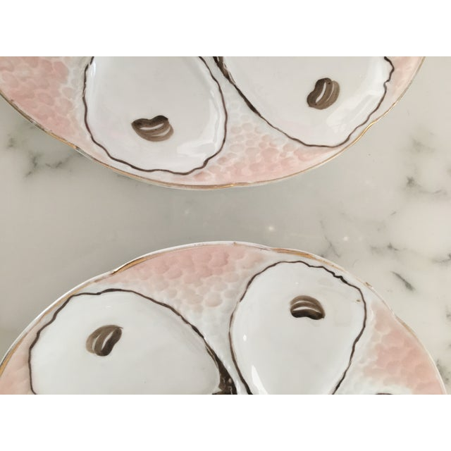 Porcelain Pink Oyster Plates - a Pair For Sale - Image 4 of 7