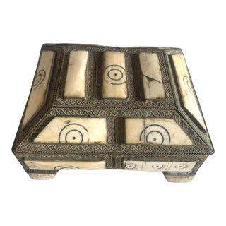 Vintage Moroccan Berber Jewelry Box - Repousse Silver & Hand-Carved Camel Bone For Sale