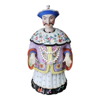 Late 19th Century German Chinoiserie Porcelain Chinese Emperor Yongzheng Nodder For Sale