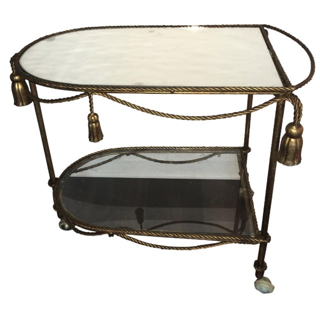 Italian Gold Faux-Rope Bar Cart - Image 1 of 6