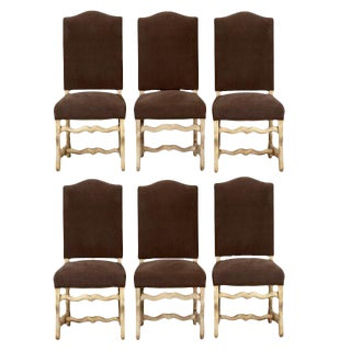 Bleached Oak Louis XIII-Style Os de Mouton Dining Chairs - Set of 6 For Sale