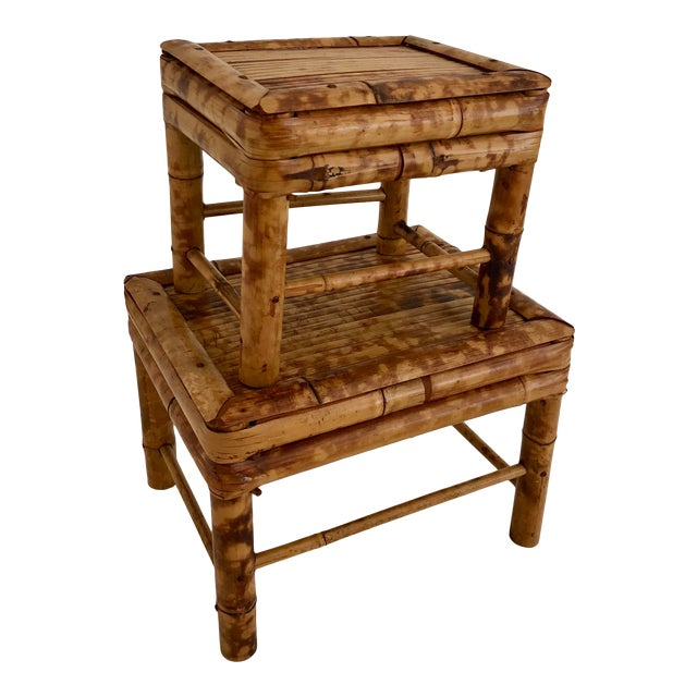 Midcentury Bamboo Plant Stand/ Stool - Set of 2 For Sale