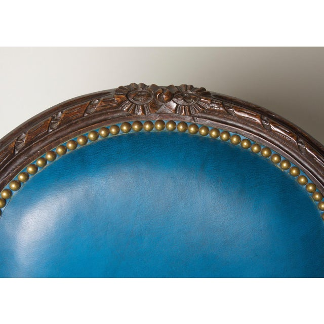 Early 20th Century Vintage Fauteuil in Blue Leather Chair & Footstool For Sale In Charleston - Image 6 of 8
