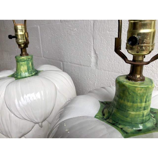 Ceramic Paul Hanson Ceramic Artichoke Lamps - Pair For Sale - Image 7 of 11