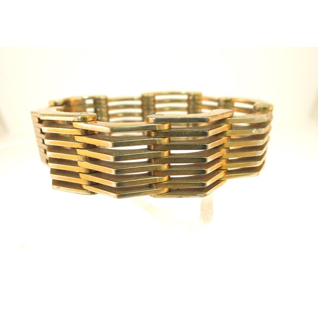 1940s Roger Edet Paris Modernist Architectural Link Bracelet 1940s For Sale - Image 5 of 13
