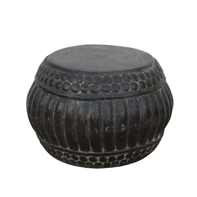 Stone Chinese Gray Stone Carved Round Simple Relief Pattern Stand For Sale - Image 7 of 7