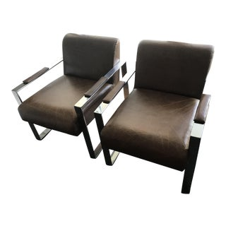 Brown Leather Bergman Chairs - A Pair