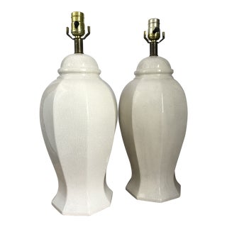 1960s Boho Chic Crackle Off White Urn Lamps - a Pair For Sale
