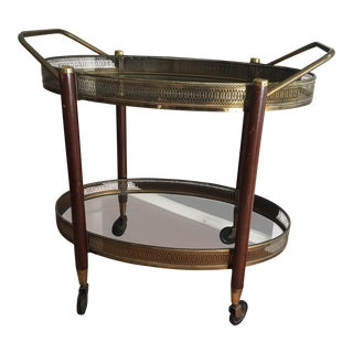 Vintage Mid-Century French Brass Oval Bar Cart