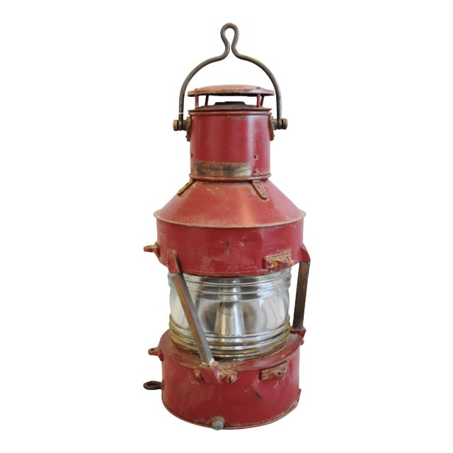 Large Red Antique English Maritime Ship's Lantern For Sale