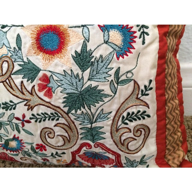Boho Chic Embroidered Silk Arabesque Pillow For Sale - Image 3 of 4
