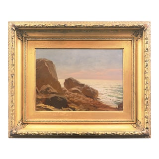'Evening Light, Rocky Shore', Early American School Impressionist Seascape, Pacific For Sale