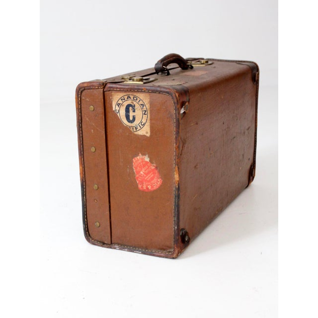 Brown Vintage Suitcase With Travel Stickers For Sale - Image 8 of 8