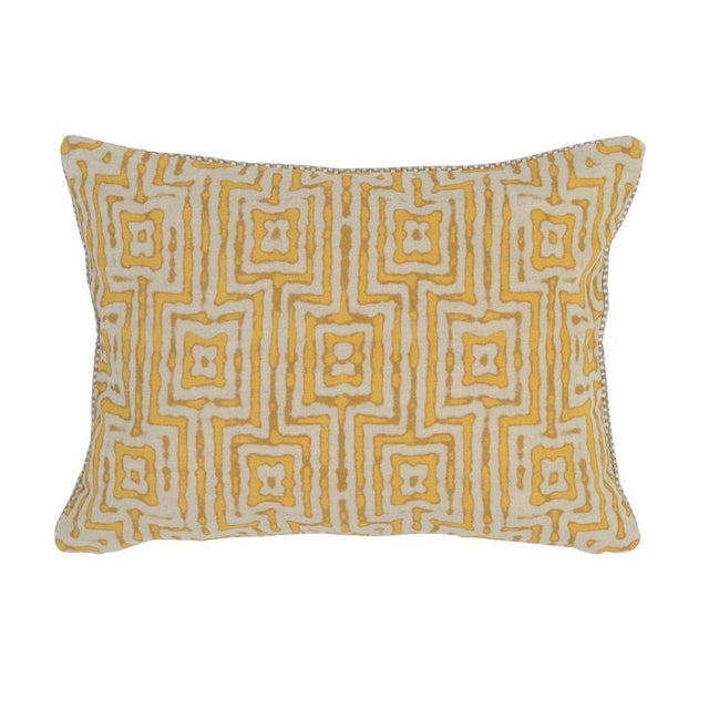 Marigold Patterned Linen Pillow - Image 2 of 2