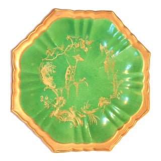 Vintage Mottahedeh Chinoiserie Emerald Green Plate For Sale