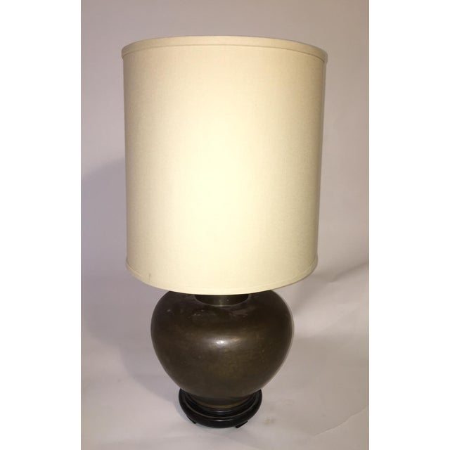 Round Mid-Century Brass Table Lamp - Image 2 of 3