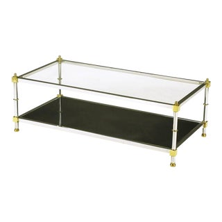 Chrome and Brass Coffee Table With Mirrored and Clear Glass For Sale