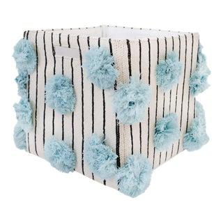 Organic Cotton Striped Pom Pom Storage Bin, Sky Blue For Sale