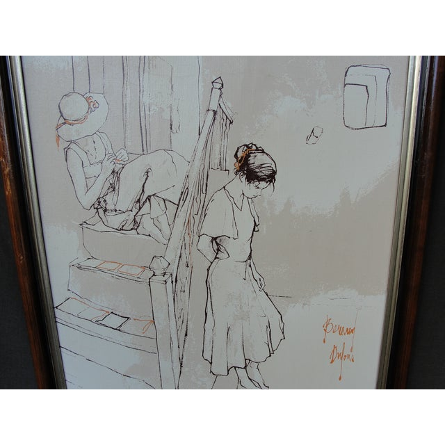 French Bernard Dufour Study Painting 2 Girls on Stairs For Sale - Image 3 of 8