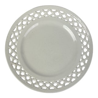 Late 19thc. Reticulated Creamware Plate For Sale