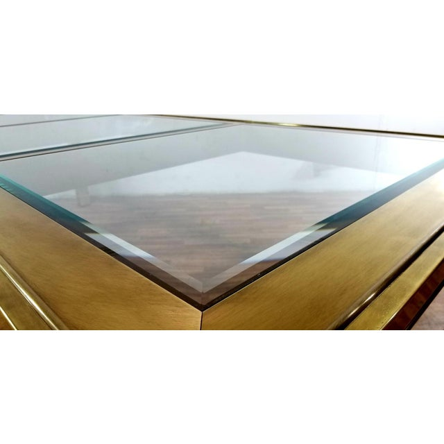 Metal Mid-Century Modern Mastercraft Brass and Beveled Glass Extension Table With Columnar Legs For Sale - Image 7 of 13