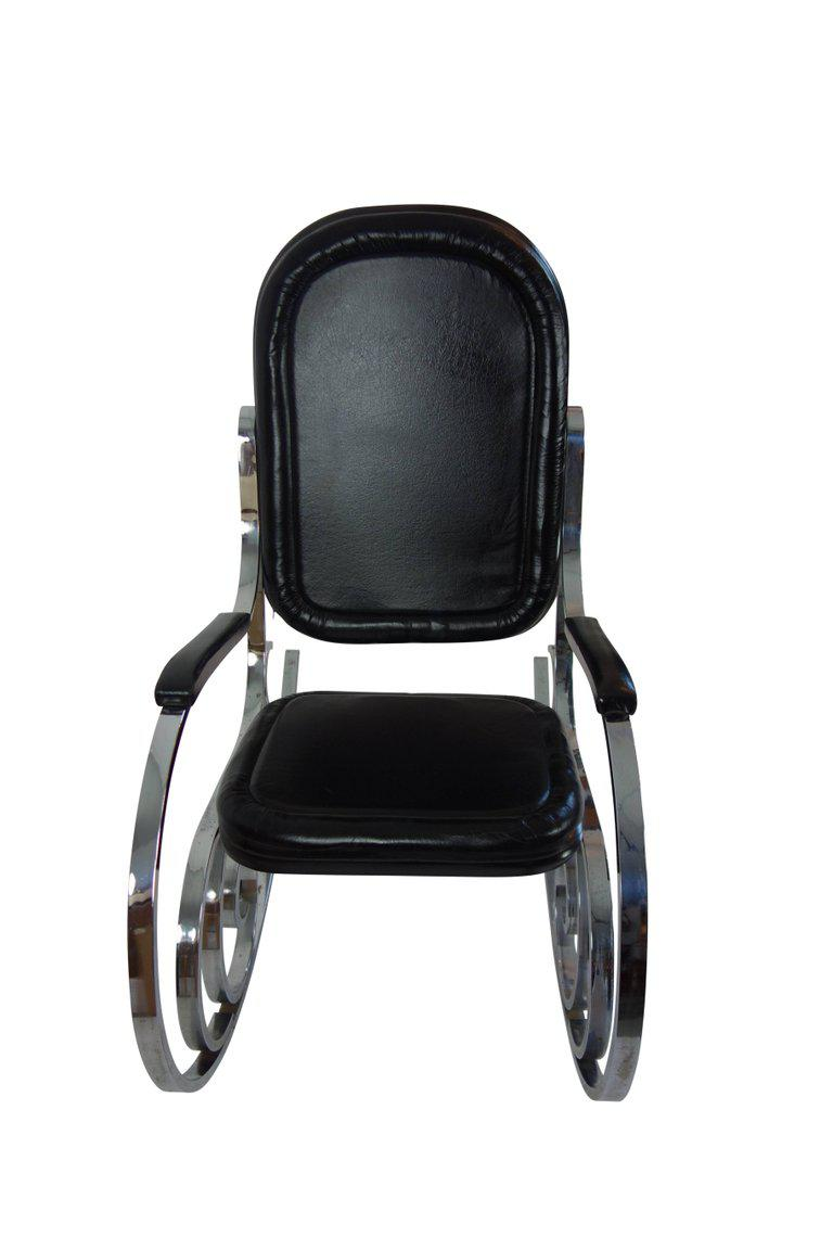 Maison Jansen Black Leather Rocking Chair   Image 5 Of 10