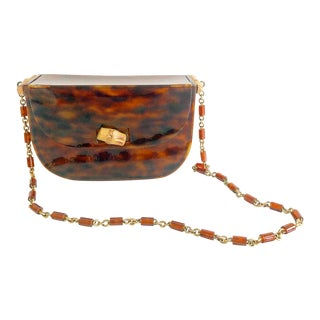 Vintage 1950's Acrylic Tortoise Lady's Handbag Purse With Bamboo Details For Sale