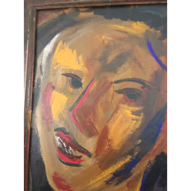 Mid-Century Modern Mid 20th Century Abstract Faces Oil Painting, Framed For Sale - Image 3 of 7