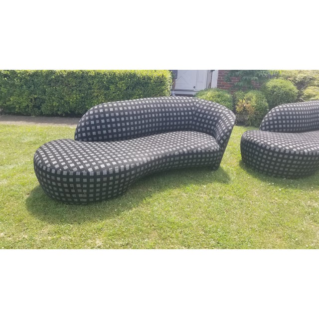 Pair of stunning Kagan Cloud Sofas covered in a charcoal chenille with a graphic pattern of grey and a hint of a metallic...
