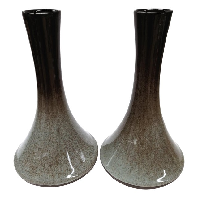 Artisan Mottled Ceramic Vases- A Pair For Sale