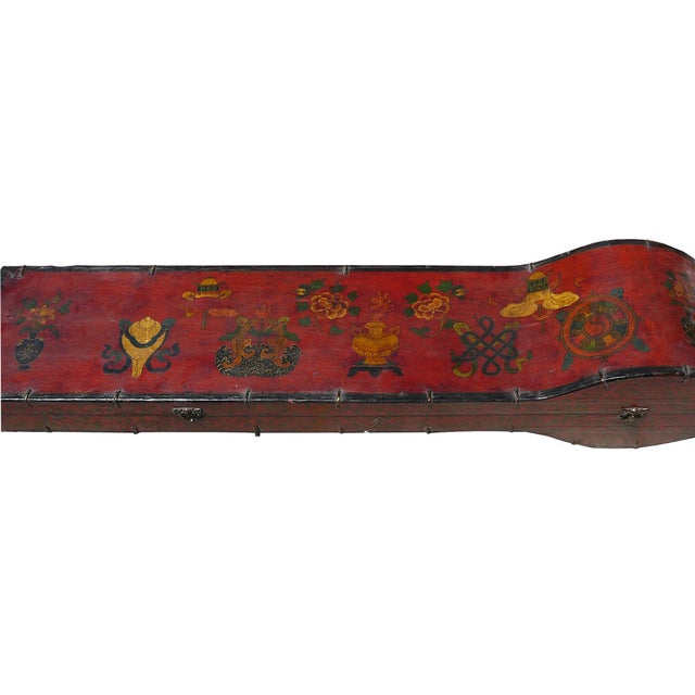 Tibetan Red Graphic Wood Instrument Box Trunk - Image 3 of 6