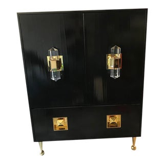 Jonathan Adler Black Crawford Cabinet With Gold a Crystal Details For Sale