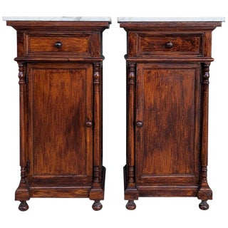 20th Century Pair of Biedermeier Nightstands With Marble Top, One Drawer & Door For Sale