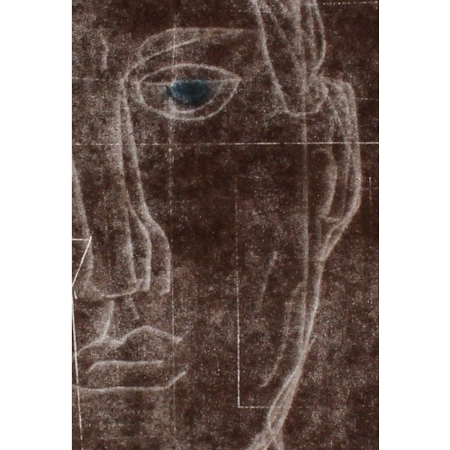 """Contemporary Rob Delamater """"Self Portrait I"""" Monoprint and Gouache Painting in Brown, 2014 2014 For Sale - Image 3 of 5"""