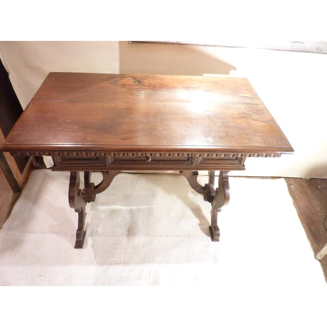 Brown Italian Walnut Console For Sale - Image 8 of 10