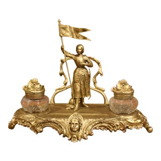 Early 20th Century French Gilt Painted Spelter Inkwell Featuring Joan of Arc For Sale