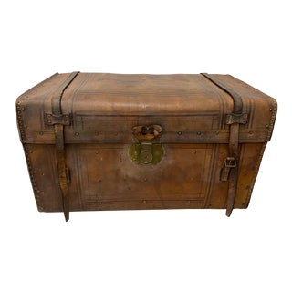 19th Century Leather & Brass Tack Steamer Trunk C.1880s For Sale
