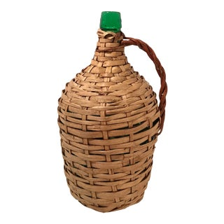 Vintage French Wicker Covered Wine Bottle For Sale
