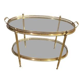 Mid-Century Italian Brass Oval Bar Cart